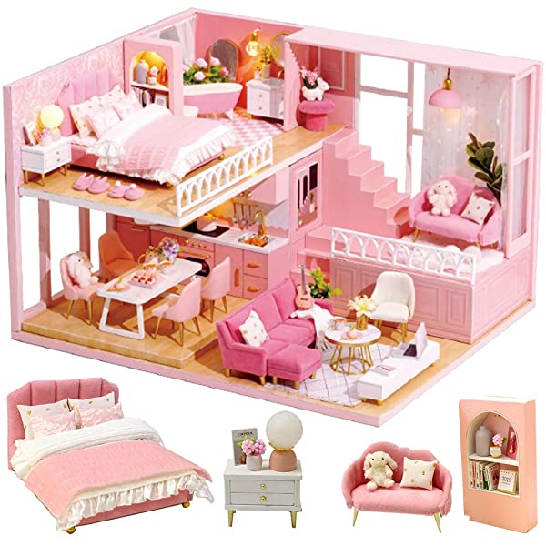 Dollhouses CUTEBEE Miniature Furniture DIY Kit Plus Dust Proof Music Movement,