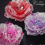 花髪飾り 2WAY フラワーコサージュ 八重桜 浴衣 帯飾り ラメ レース ヘアアクセサリー 14030