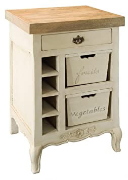 ANTIQUE COUNTRY CREAM KITCHEN CHOPPING BLOCK CABINET WITH DRAWERS STORAGE UNIT AMBERLY (ASB287) ** FULL RANGE OF MATCHING FURNITURE IS AVAILABLE **