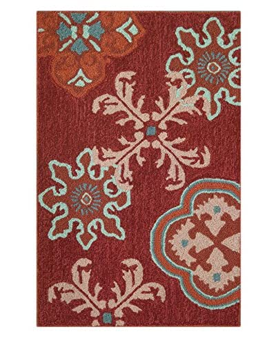 Homefires Rugs Crimson Stamps, Red, 22 x 34