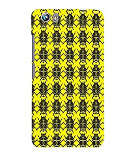 Printvisa Yellow And Black Beetle Pattern Back Case Cover for Micromax Canvas Fire 4 A107