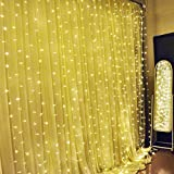 Ucharge Curtain Lights 304led 9.8*9.8ft Warm White Christmas Curtain String Fairy Wedding Led Lights for Home, Garden, Holiday, Party, Outdoor Wall, Kitchen, Bathroom, Curtains, Window Decorations