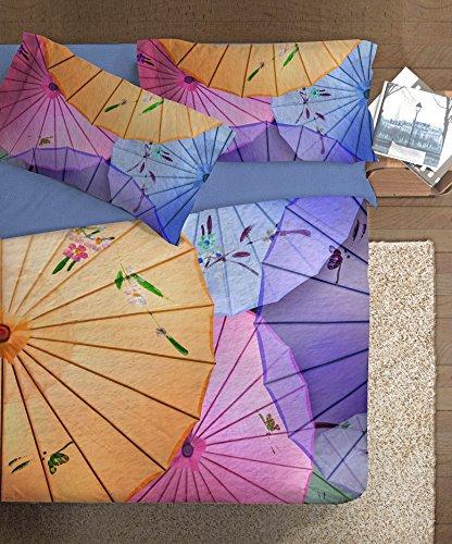 Ipersan Oriental Parure copripiumino fotografico Piazzato Fine Art matrimoniale Oriental, Cotone, Azzurro/Rosa/Giallo, Matrimoniale