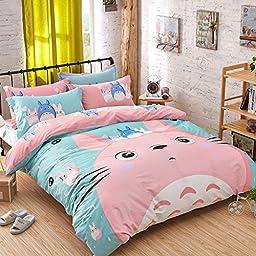 Brandream Cute Pink Totoro Bedding Set Girls Kids Bedding Set Duvet Cover Full Twin Size