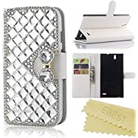 ZTE Grand X Max, X Max+ Case, EBEST Bling Rhinestone Handmade Flip Wallet PU Leather Case For ZTE Grand X Max Z787, ZTE Grand X Max+ Z987 Max Plus, Silver Big Crystal