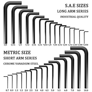 E·Durable Hex Key Set, 30-Piece Allen Wrench Set SAE(0.028-3/8 in) & Metric Sizes(0.7-10mm) for Furniture Assembly, Bike Maintenance, Household DIY & Applications
