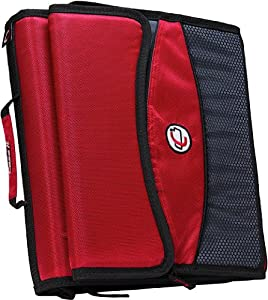 Case-it 2-Inch O-Ring Zipper Binder with Removable Tab File, Red, D-901-RED