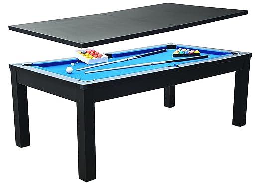 Table à Manger Billard CONVERTIBLE TABLE A MANGER (Noir tapis bleu)