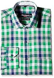 Dennison Men's Formal Shirt (SS-16-391_40_Green)