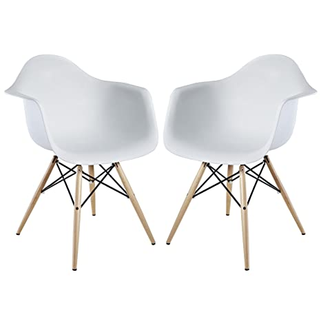 LexMod Two Wood Pyramid Armchairs in White