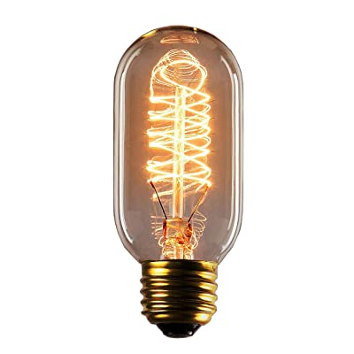 Rolay 25 Watts Clear Glass Edison Style Square Spiral Filament Reproduction Incandescent Light Bulb, 1 Pack