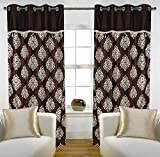 "Home Candy Eyelet Fancy Polyester 2 Piece Door Curtain Set - 84""x48"", Brown (SOE-CUR-157_157)"