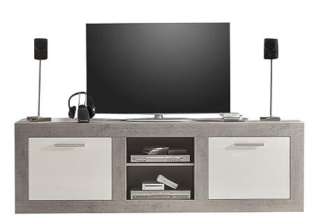 trendteam PE31835 TV Möbel Lowboard weiss Hochglanz, Absetzungen Beton Industry, BxHxT 210x69x50 cm