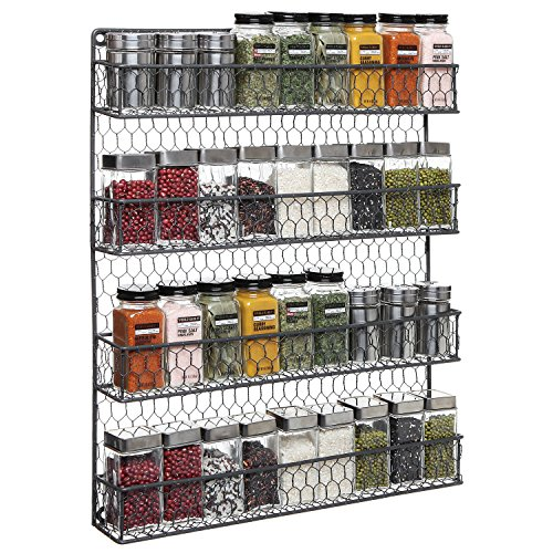 4 Tier Gray Country Rustic Chicken Wire Pantry, Cabinet or Wall Mounted Spice Rack Storage Organizer (Chicken Wall Shelf compare prices)