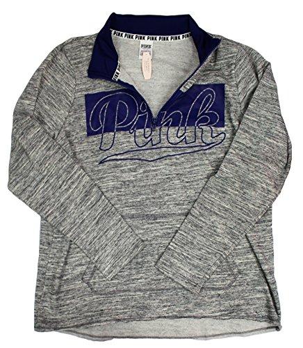 Victoria's Secret PINK Gray/Navy Blue Half-Zip Hoodie Sweater (Large)