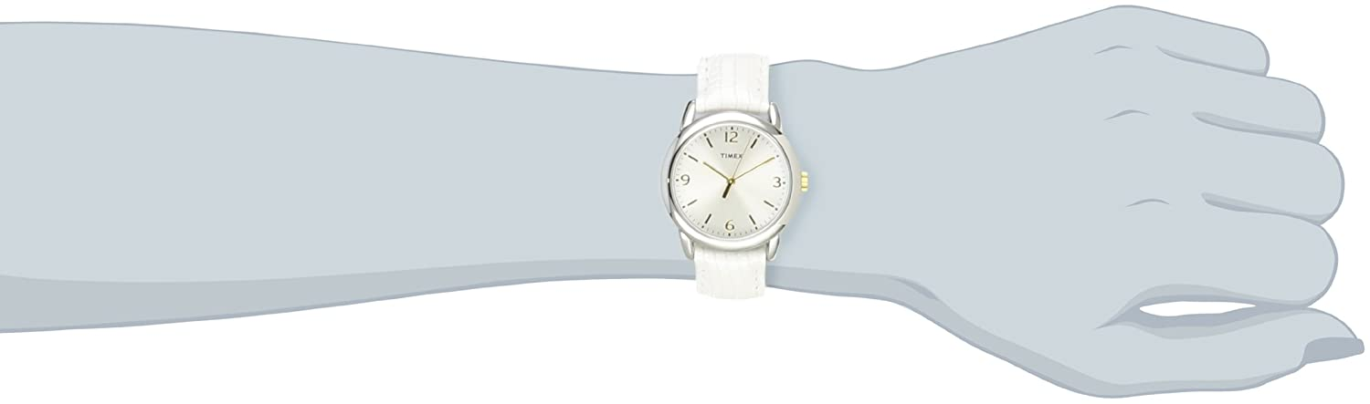 Женские наручные часы Timex Women's T2P1202M White Metallic Lizard Patterned Leather Strap Watch