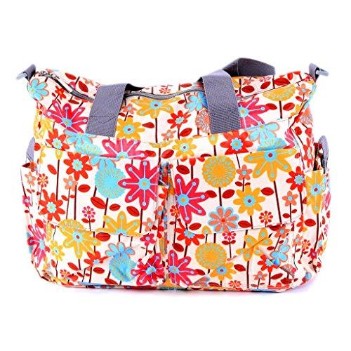 ilovebaby Floral Designer Diaper Tote Bags (Orange Flower) - 1
