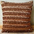 Rustic Rust - Throw Pillow Covers - Silk Pillow Cover with 3D Metallic Leather Tapes
