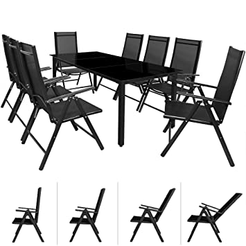 Garden Dining Table and Chairs Set Aluminium Patio Rectangular 8 Seater with Glass Plate and Foldable Chairs