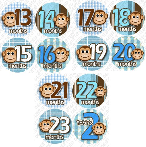 13-24 MONTHS BLUE MONKEY STRIPE Onesie Stickers Baby Shower Gift Photo Shower Stickers, Baby month stickers by OnesieStickers