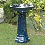 Aviatra Traditional Ceramic Bird Bath Color - Blue Midnight