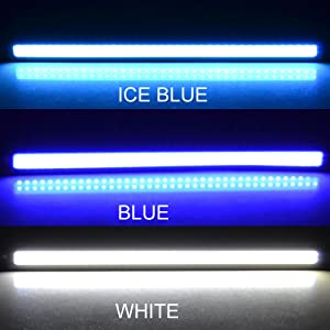 Rayhoo 2 pcs Set Waterproof IP67 Rubber Flexible High Power 6W 12V Flip Slim Chip COB LEDs DRL Daylight Driving Light Daytime Running Light For Car Vehicle Universal (Straight Line, White) (Color: White, Tamaño: Straight Line)