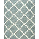Safavieh Dallas Shag Collection SGD257C Light Blue and Ivory Area Rug, 8-Feet by 10-Feet
