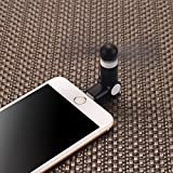 Pandawell 8-pin Lighting Rotatable Mobile Phone Fan Portable Dock Cool Cooler Rotating Fan for Apple iPhone 7 / 7 Plus / 6S / 6S Plus / iPhone 6 / 6 Plus / iPhone SE / 5S - Black