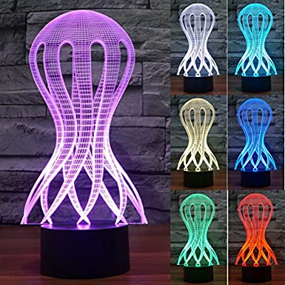 ZLTFashion 3D Visual Optical Illusion Colorful LED Table Lamp Touch Cute Animal Night Light Christmas Prank Gifts Romantic Holiday Creative Gadget
