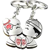 4EVER Romantic Chinese Lovers Kiss with Double Happiness Couple Keychain (With Gift Box) Best Key Ring Key Chain Gift for Valentine Wedding Anniversary (A Pair) (Color: Silver., Tamaño: 0.6''*0.08*3.3'')