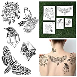 Tattify Hand Drawn Nature Temporary Tattoos - Pearlescent (Set of 10) and Fashionable Temporary Tattoos