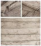 アンティーク 木目調 綿麻 生地 [幅150cm]選べる長さ50㎝~【ハギレ保存に便利なポーチ付き】 (① 幅150×長さ50㎝) [並行輸入品]