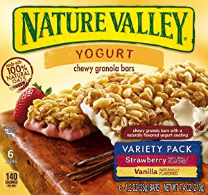 Nature Valley Chewy Yogurt Granola Bars, Variety Pack of Vanilla and Strawberry, 1.2 Ounce Bars (Pack of 6)