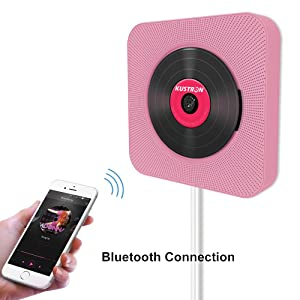 KUSTRON CD Player, Bluetooth Portable CD Player, Wall Mountable Player with Radio,No Battery, Compact USB Connection, Pull-Switch Cable to Turn ON/Off Perfect Decoration in Kitchen/Home/Bedroom(Pink) (Color: Pink)