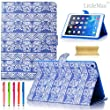 iPad Air 2 Case, LittleMax(TM) Lovely Full Body Protective Case Flip Stand Magnetic Cover Wallet Case for Apple iPad Air/iPad 6 [Free Cleaning Cloth & Stylus Pen]-Blue Tribal Elephant