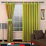 SEVEN STARS 1 Piece Cotton Striped Window Curtain - 5 ft, Green