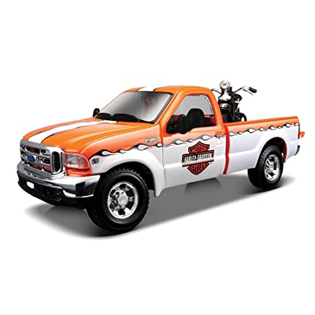 Maisto 1:24 Ford F-350 Pick up Harley Davidson +1936 El Knucklehead - weiß-orange