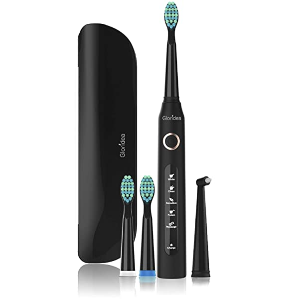 5 Modes Electric Toothbrush with Travel Case, Rechargeable Sonic Toothbrush with Smart Timer and 4 Brush Heads, Waterproof USB Toothbrushes Up to 30 Days Battery Life Black (Color: 507Black with Case, Tamaño: 8.94 Inch Tall, 1.02W*1.02L)
