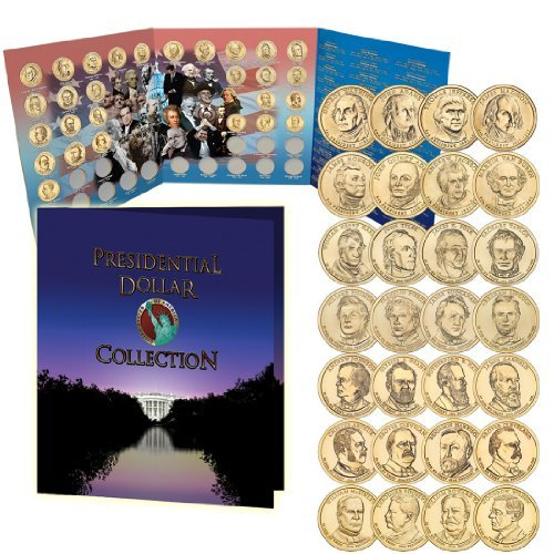 2007 - 2013 Uncirculated Golden Presidential Dollar Coins With Free Folder Album