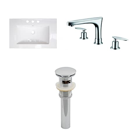"Jade Bath JB-16666 24"" W x 18"" D Ceramic Top Set with 8"" o.c. CUPC Faucet and Drain, White"