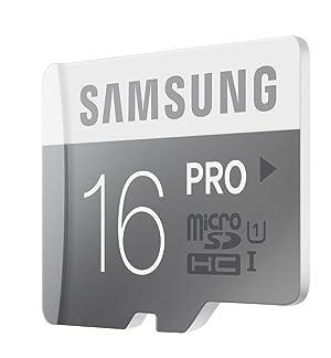 Tarjeta micro SDHC Samsung PRO de 16GB hasta 90MB/s con adaptador (MB-MG16DA/AM).