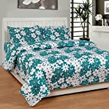 Soni Traders Floral Print Polycotton Double Bedsheet With 2 Pillow Covers (BST_165, Green)