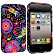 FOR APPLE IPHONE 4 4S SILICONE GEL SKIN CASE COVER+FREE STYLUS BY GSDSTYLEYOURMOBILE {TM} (Dark Circle Jelly Fish)