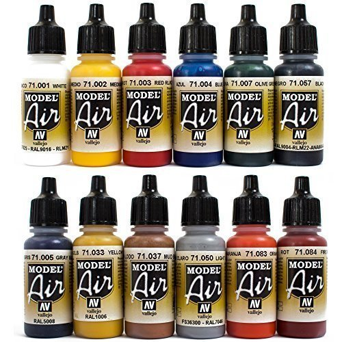 Airbrush-Farben-12-x-17-ml-Vallejo-Model-Air-Basis-Bunt-Farben-Set-Airbrushfarben