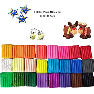 24 Colors Polymer Molding Clay Set with Box Packaged,Oven Baking Clay Kit with 5 Sculpting Tools and 33 Accessories,0.7oz Per Block,Great DIY Clay Crafts Gifts (Tamaño: 24 colors Bake clay)