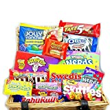 Large American Sweet Hamper Candy/Chocolate/Wonka/Nerds Christmas/Birthday Gift - in a Wicker Effect Card Box - Version 2