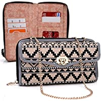 Tan/Black Ethnic Crossbody Case For Plum Sync 4.0b, Axe Plus, Check Plus, Posh Pegasus 4 G Smartphone