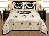 Western Lone Star Barb Wire Cabin/Lodge 3-piece Quilt Bedspread Bed Cover Coverlet Set 92