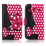 Fashion Youth Series Cute Design Black Pink Bow Bowknot Wallet Flip Case Folio PU Leather Stand Cover with Card Slots for Samsung Galaxy S3 i9300 + Free Lovely Gift