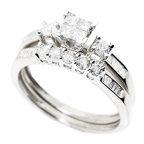 Rings-MidwestJewellery.com Women's Princess Cut Diamond Wedding Rings Set 10K White Gold 0.58Cttw Diamond